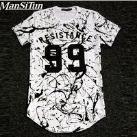 Man si Tun 2017 RESISTANCE Letters Print kanye West T shirt Cotton Casual Funny Shirt For Men White Black Top   Hipster T Shirt