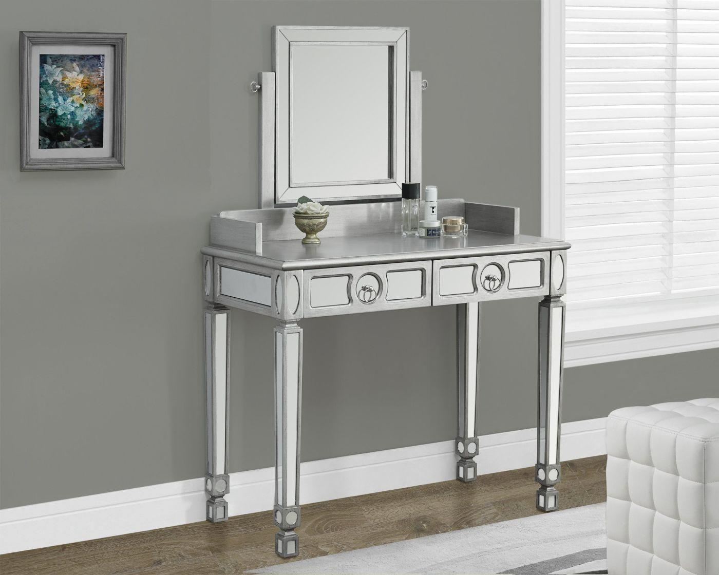 """Image of Brushed Silver / Mirrored 36""""L Vanity Table With 2 Drawers"""