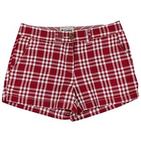Women's Shorts in White and Maroon Madras by Olde School Brand