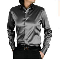LightSung promption long sleeve casual loose silk men shirt thin plus size plus size male wedding dress shirts solid 21 color