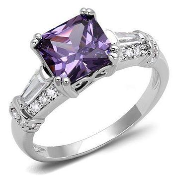 Simple Rings 3W1365 Rhodium Brass Ring with AAA Grade CZ in Amethyst