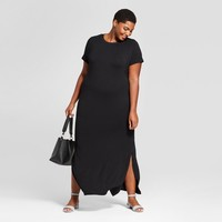 Women's Plus Size T-Shirt Maxi Dress - Ava & Viv™ Black