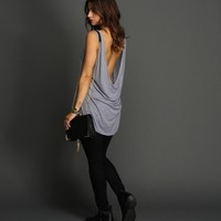 Sale-lt Blue Cowl Back Tank Top