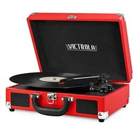 Innovative Technology - Victrola Vintage 3-Speed Bluetooth Suitcase Turntable with Speakers, Red