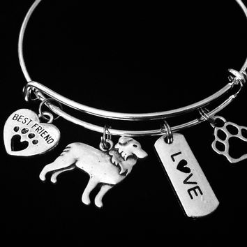 Border Collie Expandable Charm Bracelet Silver Adjustable Wire Bangle Gift Best Friend Paw Print Pet Animal Lover Jewelry One Size Fits All Gift