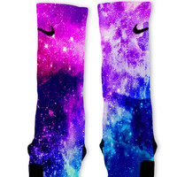 Bubble Gum Galaxy Customized Nike Elite Socks