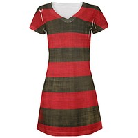 Halloween Striped and Bloody Nightmare Sweater All Over Juniors Beach Cover-Up Dress