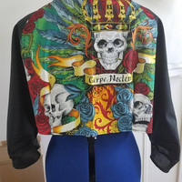 Pinup - style - rockabilly - chic - Floral - skull - roses - crown - 3/4 -. Sleeve - bolero - with - panel - back