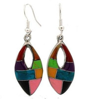 Oval Mosaic Stone Earring with Cut Out - Artisana