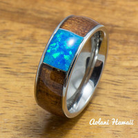 Stainless Steel Ring with Hawaiian Koa Wood & Opal Inlay (8mm width, Barrel style)