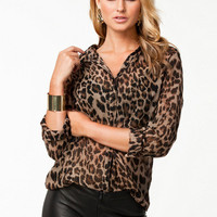 Leopard Print Shirt Collar Long Sleeve Chiffon Blouse