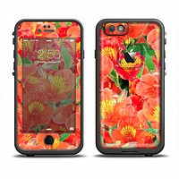The Red and Yellow Watercolor Flowers Apple iPhone 6 LifeProof Fre Case Skin Set