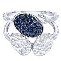 Gabriel Blue Sapphire Sterling Silver Contemporary Pave Ring