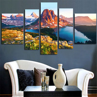 No Framed 5Pcs Wall Art Painting Canvas Picture Snow Mountain Modular Painting On The Wall Home Decor Posters Printed For Room