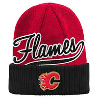 NHL Calgary Flames Boys 8-20 Basic Cuffed Knit Hat, One Size, Red