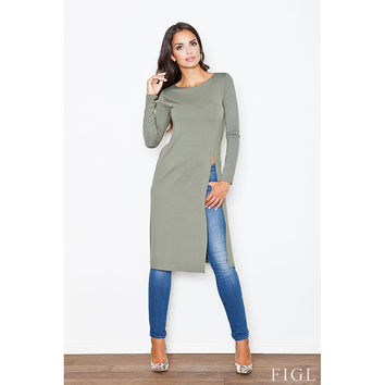 Side Slit Long Tunic Top