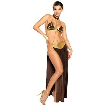 Sexy Princess Slave Brown and Gold Halloween Costume