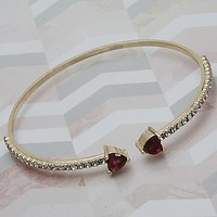 Gold Layered Women Heart Individual Bangle, with Garnet Cubic Zirconia, One size fits all by Folks Jewelry