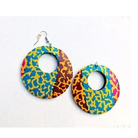 Red Large African Fabric Earrings