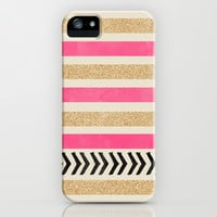 PINK AND GOLD STRIPES AND ARROWS iPhone & iPod Case by Allyson Johnson