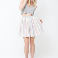 Vintage 90s High Waisted Pastel Striped Pleated Mini by SHOPAT851