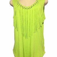 MICHAEL Michael Kors Woman's Grommet Fringe Trim Tank top Plus SZ 1X Pear