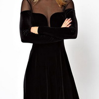 Alluring Round Collar Voile Splicing Translucent Beam Waist Long Sleeves Dress For Women