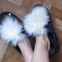 Winter ankle fur house slippers, upcycled materials, warm and cozy, house shoes