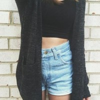 Knit Sweater Cardigan With Pocket