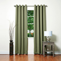 """Basic Solid Grommet Thermal Insulated Blackout Curtains 104""""""""W X 108""""""""L Pair - Olive"""
