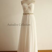 Strapless Sweetheart Ivory Chiffon Simple Wedding Dress/Bridesmaid Dress/Prom Dress with beading Sash