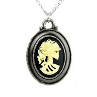 Goth Antique Silver Color Dead Girl Skeleton Cameo Necklace Lolita Pendant