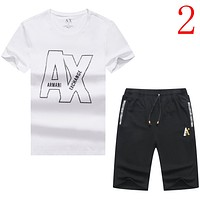 Armani Casual Men Short Sleeve Shirt Top Tee Shorts Set Two-Piece