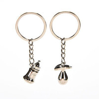 2 Pcs Fashion Couple Lovely Baby's Bottle And Pacifier Keychain Cute Presents
