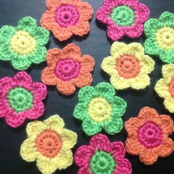 Hand Crochet Summer Flower Appliques Embellishments Set of 12- Neon GreenSunshine Yellow Hot Pink Bright Carrot Orange