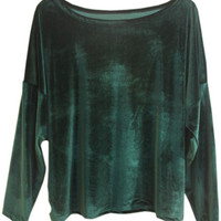 ROMWE | Retro Loose Magyars Green Pullover, The Latest Street Fashion