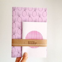 Notebook set, Pineapple Journal and Polka Dot Jotter, Pink Notepad Gift Set