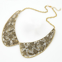 Free Shipping!Newest Retro Temperament Metal Carved False Collar Necklace Sweater Chain For Women