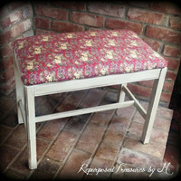 Vintage wood bench, painted bench, piano bench, shabby chic bench, distressed bench, rustic bench, padded bench, painted furniture