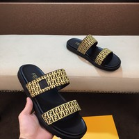 Fendi Popular Summer Women Flats Men Slipper Fendi Sandals Shoes