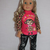 18 inch doll clothes, pink and brown graphic print shirt, monkey shopping print shirt, dark denim skinny jeans, american girl ,maplelea