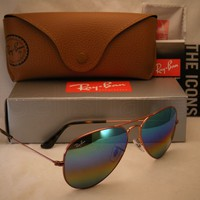 Cheap Ray Ban 3025 Aviator Medium Bronze w Green Rainbow Flash (RB3025 9018C3 58) outlet