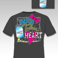 Sassy Frass Funny Bless Your Little Southern Heart Bow Mason Jar Sweet Girlie Bright T Shirt