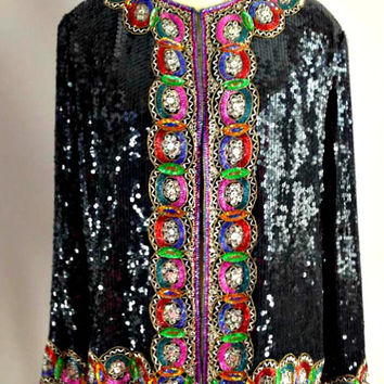 ViNtAgE 80s Black Sequin Jacket Rainbow Slouchy Coat Sequined Beaded Deco Embellished Gatsby Cocktail Party Trophy Dress Top Blouse Glam