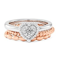 Sterling Silver and Rose Gold Stackable Expressions Diamond Take My Heart Ring Set