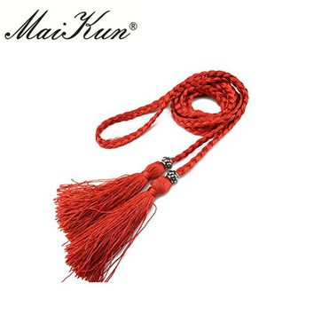Casual Rope Belts for Women Thin Braided Tassels Cummerbund Lady All-Match Waistband Fashion Accessories 15 Colors