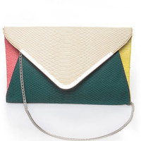 For Goodness' Snake Ivory and Teal Snakeskin Clutch