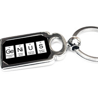 Genius Periodic Table of Elements Metal Key Chain - Perfect Science Teacher Gift