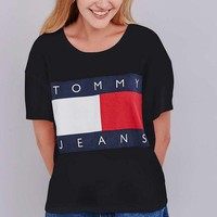 Tommy Jeans Fashionable Women Men Leisure Print T-Shirt Top Red I