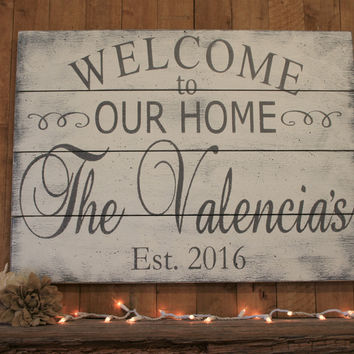 Welcome To Our Home Pallet Sign Family Name Sign Personalized Sign Wedding Gift Housewarming Gift Anniversary Gift Bridal Shower Gift